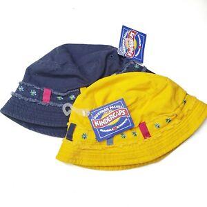 NWT Kindercaps Bucket Hat Fisherman 2pc Pair 2-6X Blue Yellow Girls
