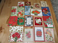 VINTAGE CHRISTMAS CARDS 20 POINSETTIA FLOWER SCRAPBOOK