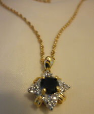 BLACK ONYX & CZ PENDANT AND NECKLACE ~FASHIONABLE AND AFORDABLE ~ PRE-OWNED, WOW