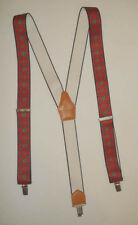 Men's Suspenders Braces Red w/ Blue Green Floret Ornament Crests