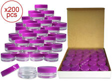 200 Pieces 3Gram/3ml Plastic Round Clear Sample Jar Containers with Purple Lids