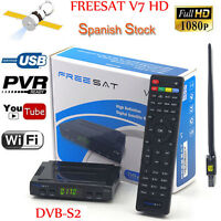 Freesat V7 HD DVB-S2 1080P Satellite TV Receiver box support biss key+usb wifi