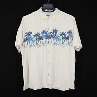 Mens Tommy Bahama Ivory Graphic Hawaiian Camp Shirt Size XL 100% Silk Button up