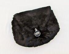 1930's fur purse/muff, black fur combination muff and purse, Art Deco clasp