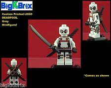 DEADPOOL GREY SUIT Custom Printed & Inspired LEGO Marvel Minifigure w/Swords
