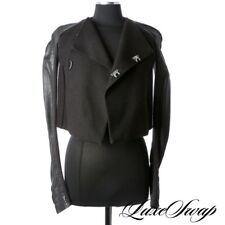Rick Owens Made in Italy Black Leather Flannel Ribbed Motorcycle Jacket Coat 6