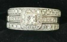 3Ct Princess Cut Diamond Trio Set Women's Engagement Ring 14K White Gold Finish
