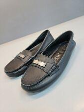 Calvin Klein Womens Leta Leather Slip On Loafers black Size 6M