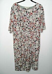 ANTHOLOGY Shift Dress Size 22 Stretch Floral Grey Plus Size Smart Casual