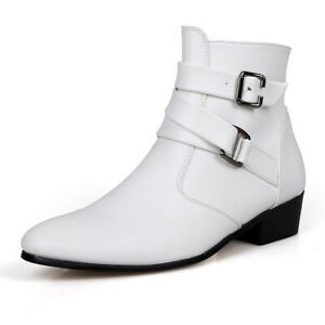 Mens British Style Pointed Toe Ankle Riding Boots Buckle Strap Zipper Side Shoes