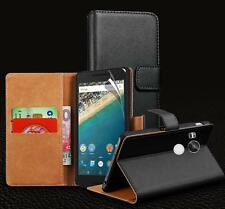 Genuine Real Leather Wallet stand case for Nexus 6P & Screen Protector