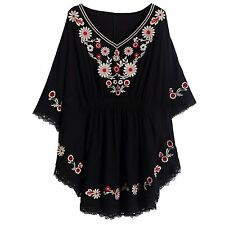 Kafeimali Womens Batwing Dressy Tunic Peasant Tops Mexican Embroidery Blouse