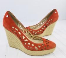 Calvin Klein Women's Espadrille Orange Suede Viktoria Wedge Heel Slip On 9 9.5