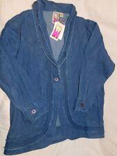 Womens Plus ANTTHONY ORIGINAL Blue DENIM Jean COTTON 1X Cardigan BLAZER Jacket