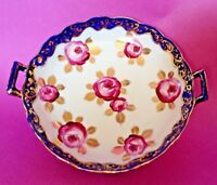 Handled Bowl - Hand Painted Roses With Gold Leaves - Blue Rim - Nippon Japan