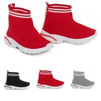 Kids Boys Girls Sock Runners Trainers Comfy Speed Knit Sneakers Gym Shoes