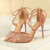Women's Sandals Pointed Toe Stiletto High Heels Cross Tied Party Dress Shoes