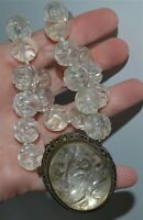 Antique Chinese Carved Rock Crystal Pendant Shou Bead Necklace