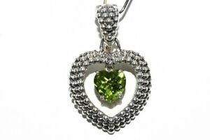 1.20CT NATURAL HEART CUT FLOATING GREEN PERIDOT SOLITAIRE HEART PENDANT SILVER