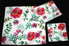 4-Pc Kassafina Bright Colorful Flowers Velour Bath Hand Fingertip Towels NEW
