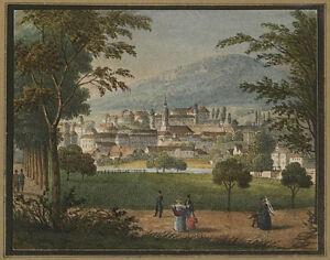"Gottfried Engelmann ""Vue de Baden prise de l'allee de Lichtenthal"", lithograph"
