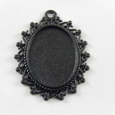 12 pcs Black Color Alloy Oval Lace Cameo Setting Charm Pendant Inner 25*18mm