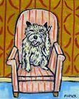 CAIRN TERRIER DOG art PRINT - 11x14 print -  dog with phone -  cairn terrier art