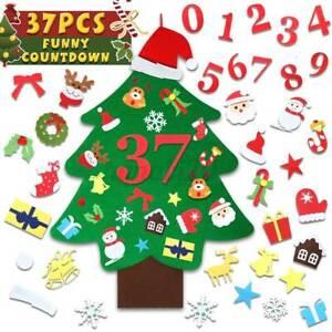 37Pcs Kids Christmas Felt Tree Set DIY Gifts Door Ornaments Wall Hanging Decor