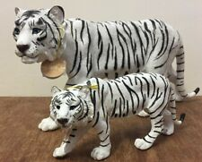 More details for prowling snow tiger ornament figurine by leonardo - small & large white tigers