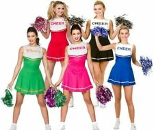 Cheerleader Fancy Dress Costumes Womens Ladies High School Uniform + Pom Poms
