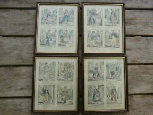 4x Vintage Framed Prints  Cartoons FRENCH MARKET CRYERS 27.5x22cms Picture Frame