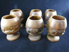 """6 Vintage Hand Carved Wood Japanese- Chinese- Philippine Cups Glasses ~4 4/8"""" H"""