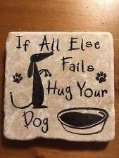 Unusual Handmade Stone Tile Coaster/Hug Your Dog/Paw Prints/Gifts/Xmas