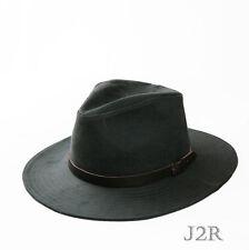 Wide Flat Brim Natural Suede 100% Cotton Fedora Leather Band Hat XL J2R JRJ066