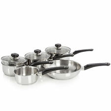 Morphy Richards 5 Piece Stainless Steel Cookware Set Glass Lid Induction Silver