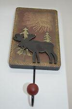 """Rustic Outdoors Look Moose w/ Pine trees Single Hook w/ Burgundy Knob 8""""H #443"""