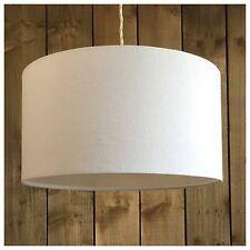 100% White Linen Fabric Drum Light Shade & Diffuser / Modern Ceiling Pendant