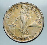 1944 S PHILIPPINES Under US Administration Eagle Silver 50 Centavos Coin i84177