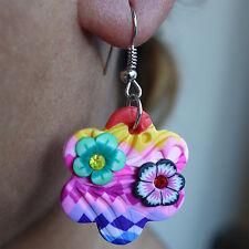 Pair of Hook Flower Earrings Womens Girls Childrens Dangle Drop Studs Jewellery