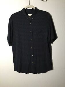 Arvust Mens Navy And Black Patterned Button Shirt Size M Short Sleeve Viscose