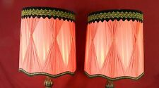 Vintage Pair Red Table Lamp Shades (Shades Only)