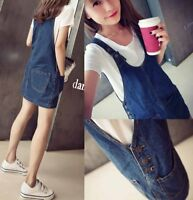 Womens girls Denim Dungaree Dress Dress Jean Pinafore Bib Overall Suspender Skir