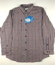 Columbia Mens XL River Ridge 1X Blue Brown Plaid Long Sleeve Button Shirt $60