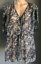 "WISH Grey & Black Print ""Vanguard"" Kimono Sleeve Sheer Silk Kaftan Top Size L/14"