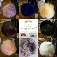 Rabbit Fur Fluffy Pompom Ball Handbag Car Charm Key Chain Keyring Purse Bon Pon