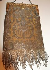 New listing Antique Gold Frame Silver/Gold French Steel Micro Bead Fringe Purse Deco Flapper