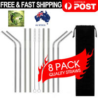 8x Stainless Steel Drinking Straws Bent / Straight Reusable Washable 2 Brush AU
