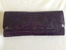 Purple Genuine Crocodile Skin Women's Long Tri-Fold Wallet