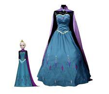 Costume Elsa di Frozen incoronazione cosplay abito vestito copia professionale