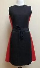 Miu Miu 2011 Runway Red Navy Blue Mod Wool Tie Waist Shift Dress Sz IT 44 US 8